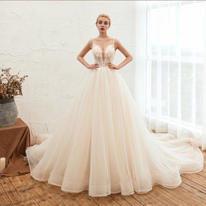 Spaghetti Straps Backless Lace Applique Long Wedding Dresses