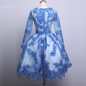 Blue Long Sleeves Homecoming Dresses,Lace Appliques Cocktail Dresses - EVERISA