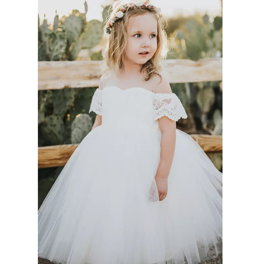 8ea851d40e30 Cute White Off Shoulder A Line Tulle Flower Girl Dresses With Lace ...