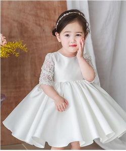 Half Sleeve Satin Flower Girl Dresses Lace Little Girl Dresses With Bowknot