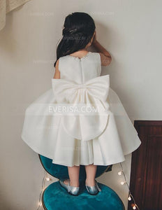 Simple Sleeveless Satin Beaded A Line Flower Girl Dresses With Bowknot