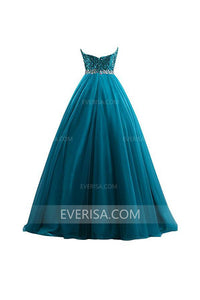 Elegant Teal Green Tulle Sweetheart Backless Tulle Evening Dress Prom Dress With Sequin - EVERISA