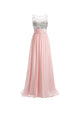 Charming Pink Scoop Neck Sleeveless Chiffon Prom Dress Long Evening Dresses - EVERISA