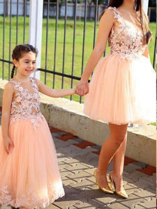 Blush Pink Sleeveless Lace Applique A Line Tulle Long Flower Girl Dresses - EVERISA
