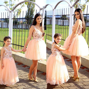 Blush Pink Sleeveless Lace Applique A Line Tulle Long Flower Girl Dresses