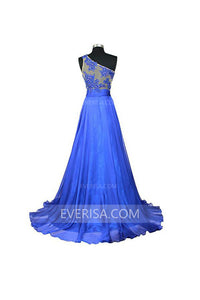 Sexy Royal Blue One Shoulder Sleeveless Chiffon Prom Dress Long Evening Dresses - EVERISA