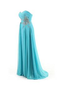 Simple Ice Blue Sweetheart Sleeveless Chiffon Prom Dress Cheap Evening Dress - EVERISA