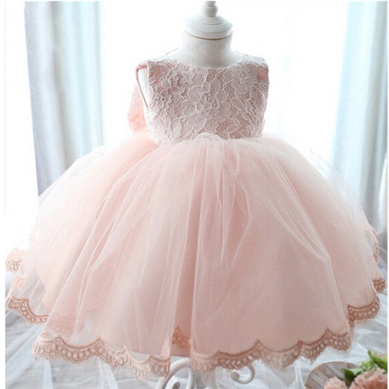 dafe717af5 Pink Scoop Neck Sleeveless Lace A Line Flower Girl Dresses With Bowknot