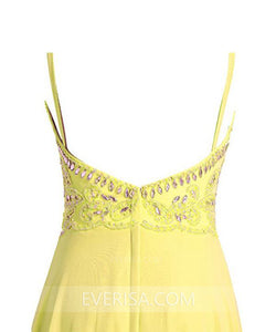Sexy Bright Yellow Backless Empire Chiffon Prom Dress Cheap Evening Dress - EVERISA