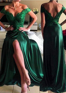 Sexy Green Off Shoulder Floor-Length Lace Appliques Prom Evening Dress Slit Evening Dress