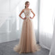 Champagne Lace Applique Prom Dresses A Line Tulle Evening Dresses