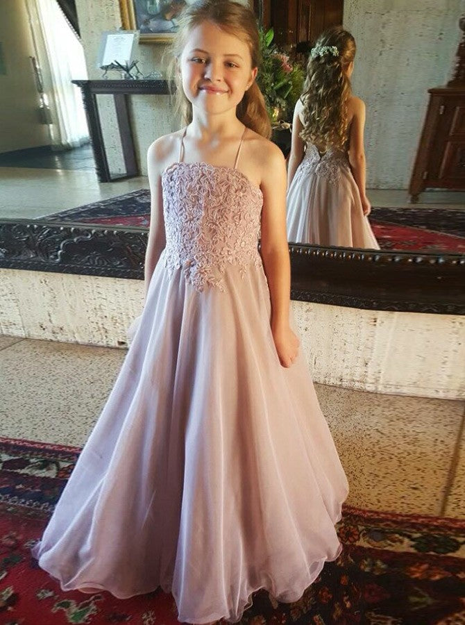 7fc3609424 Dusty Pink Halter Sleeveless Lace Appliques Long Flower Girl Dresses -  EVERISA