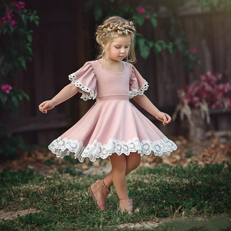 556e29eb5 Cute Scoop Neck Short Sleeve A Line Flower Girl Dresses With Lace Applique