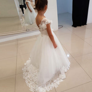 A Line Cap Sleeve Lace Appliques Flower Girl Dresses Long Little Girl Dresses - EVERISA