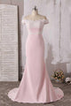 Elegant Pink Off Shoulder Empire Satin Prom Dress Long Evening Dresses - EVERISA