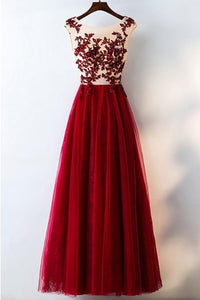 Elegant Red Scoop Neck Sleeveless Tulle Prom Dress Cheap Evening Dresses - EVERISA