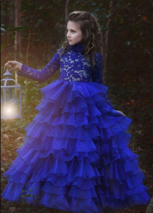 0bcea02007ee Royal Blue Long Sleeve Lace Flower Girl Dresses A Line Tulle Little Girl  Dresses