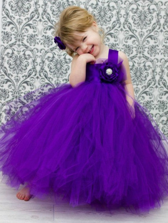 Purple Sleeveless Straps A Line Tulle Flower Girl Dresses With Flower Everisa,Semi Formal Wedding Guest Dress Code