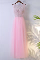 Chic Pink Scoop Neck Sleeveless Tulle Prom Dress Long Evening Dresses - EVERISA