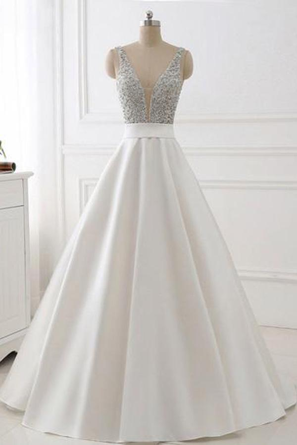 White V-Neck a Line Prom Dress