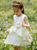 Scoop Neck Sleeveless A Line Tiered Satin Short Flower Girl Dresses