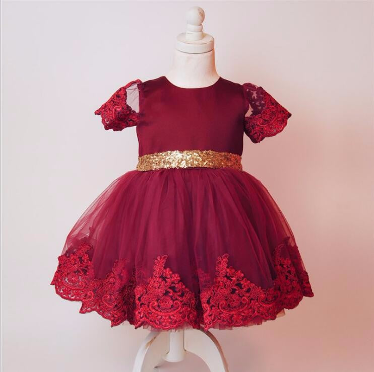6afaebfd8b Burgundy Scoop Neck Short Sleeve Lace Appliques A Line Flower Girl Dresses