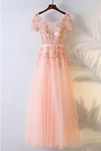 Charming Peach Pink Round Neck Short Sleeve Tulle Prom Dress Evening Dress With Lace - EVERISA