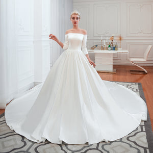 Off Shoulder Long Sleeve Satin Wedding Dresses A Line Bridal Dresses