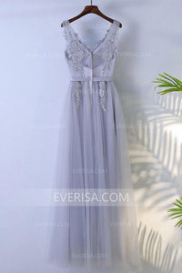 New Grey V-Neck Empire Tulle Prom Dress Long Evening Dress With Lace - EVERISA