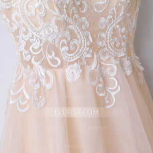 New Blush Pink V-Neck Spaghetti Straps Tulle Prom Dress Evening Dress With Lace - EVERISA