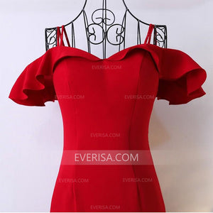 Elegant Red Mermaid Backless Satin Prom Dress Long Evening Dress - EVERISA