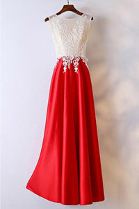 New White And Red Scoop Neck Empire Satin Prom Dress Formal Dress With Lace