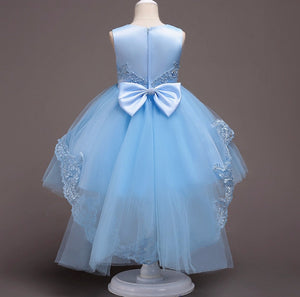 Blue Scoop Neck Sleeveless Lace Appliques High Low A Line Flower Girl Dresses