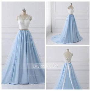 Elegant Pale Blue A line V-Neck Satin Prom Dress Evening Dresses With Lace - EVERISA