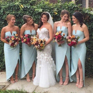 Blue V Neck Strapless Sleeveless A Line High Low Satin Bridesmaid Dresses