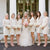 Ivory Scoop Neck Long Sleeve Lace Short Bridesmaid Dresses - EVERISA