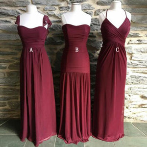 Burgundy Sweetheart Sleeveless A Line Long Chiffon Bridesmaid Dresses