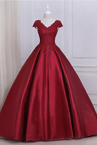 Elegant Dark Red V-Neck Empire Waist Satin Ball Gown Evening Dress With Lace - EVERISA