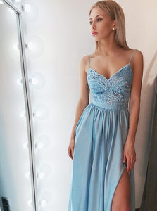 Blue Sleeveless Lace Applique Prom Dresses A Line Side Slit Evening Dresses