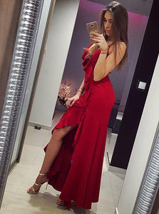 Red Spaghetti Strap Sleeveless Backless Split Satin Prom Dresses With Ruffles