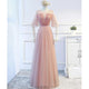 Blush Pink Half Sleeve Backless A Line Tulle Long Prom Dresses