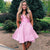 Pink A Line Sleeveless Short Homecoming Dresses Lace Cocktail Dresses