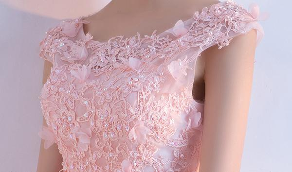 Pink scoop neck sleeveless lace applique homecoming dresses everisa