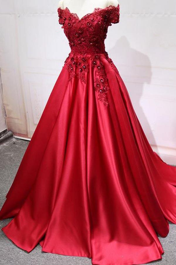 20c70787591 Gorgeous Red Off Shoulder A-line Satin Evening Dresses Prom Dresses With  Lace - EVERISA