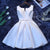Simple White V Neck Sleeveless A Line Short Satin Homecoming Dresses