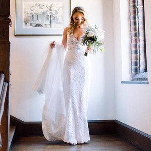White V Neck Sleeveless Backless Mermaid Wedding Dresses Lace Bridal Dresses