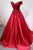 Gorgeous Red Off Shoulder A-line Satin Evening Dresses Prom Dresses With Lace - EVERISA