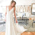 Simple V Neck Sleeveless Open Back Chiffon Long Wedding Dresses