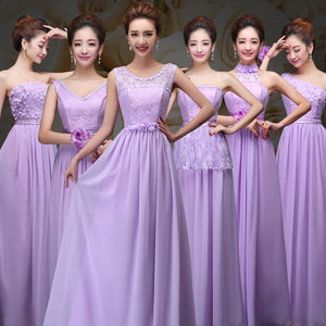 Elegant Lilac Sleeveless A Line Chiffon Long Bridesmaid Dresses With Lace