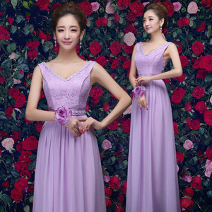 Elegant Lilac Sleeveless A Line Chiffon Long Bridesmaid Dresses With Lace - EVERISA